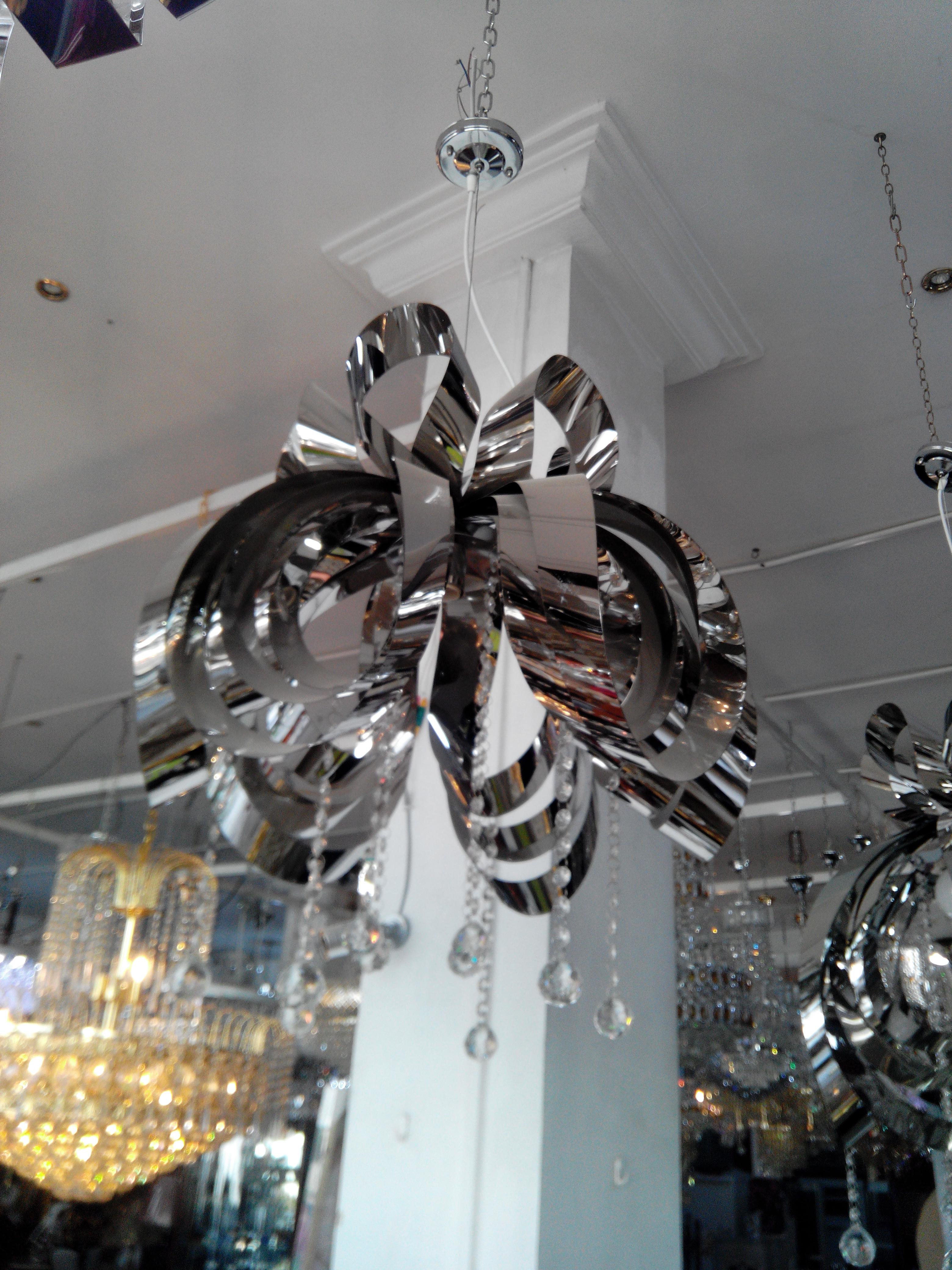 Lustre 1F en inox et boule en cristal italien - Meubles et ...