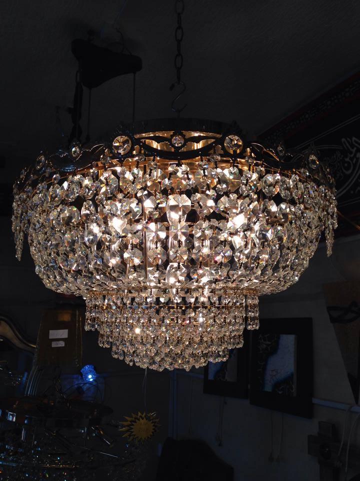 Lustre plafonnier 12 lumieres cristal egypte - Meubles et ...