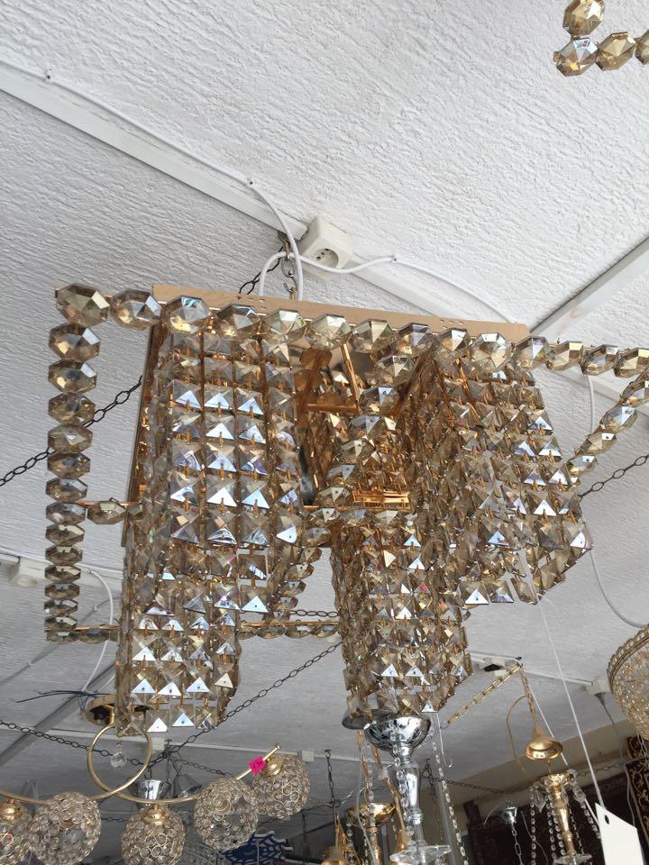 Lustre plafonnier carré en cristal cognac - Meubles et décoration ...