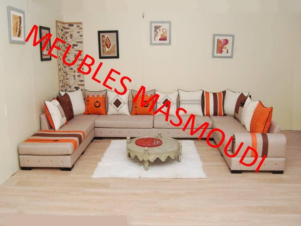 Sejour Yasmine Maroon Et Orange - Meubles Et Décoration Tunisie