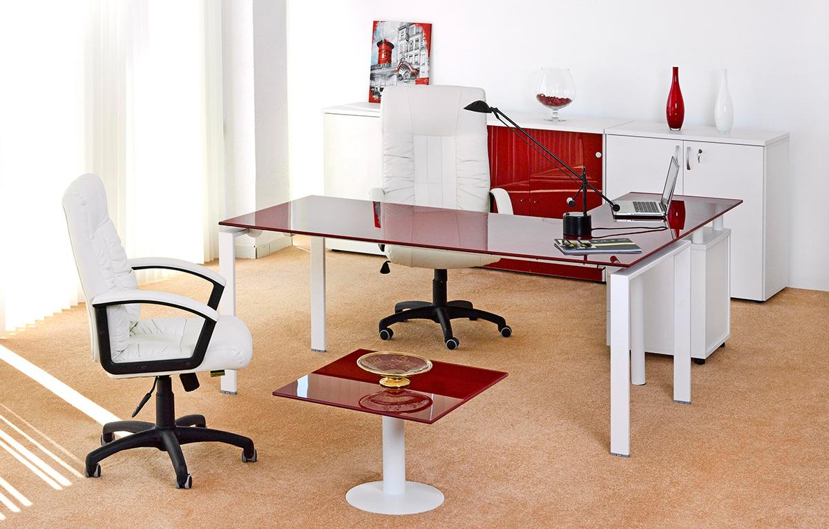 Bureau de direction carre emaille rouge meubles et décoration