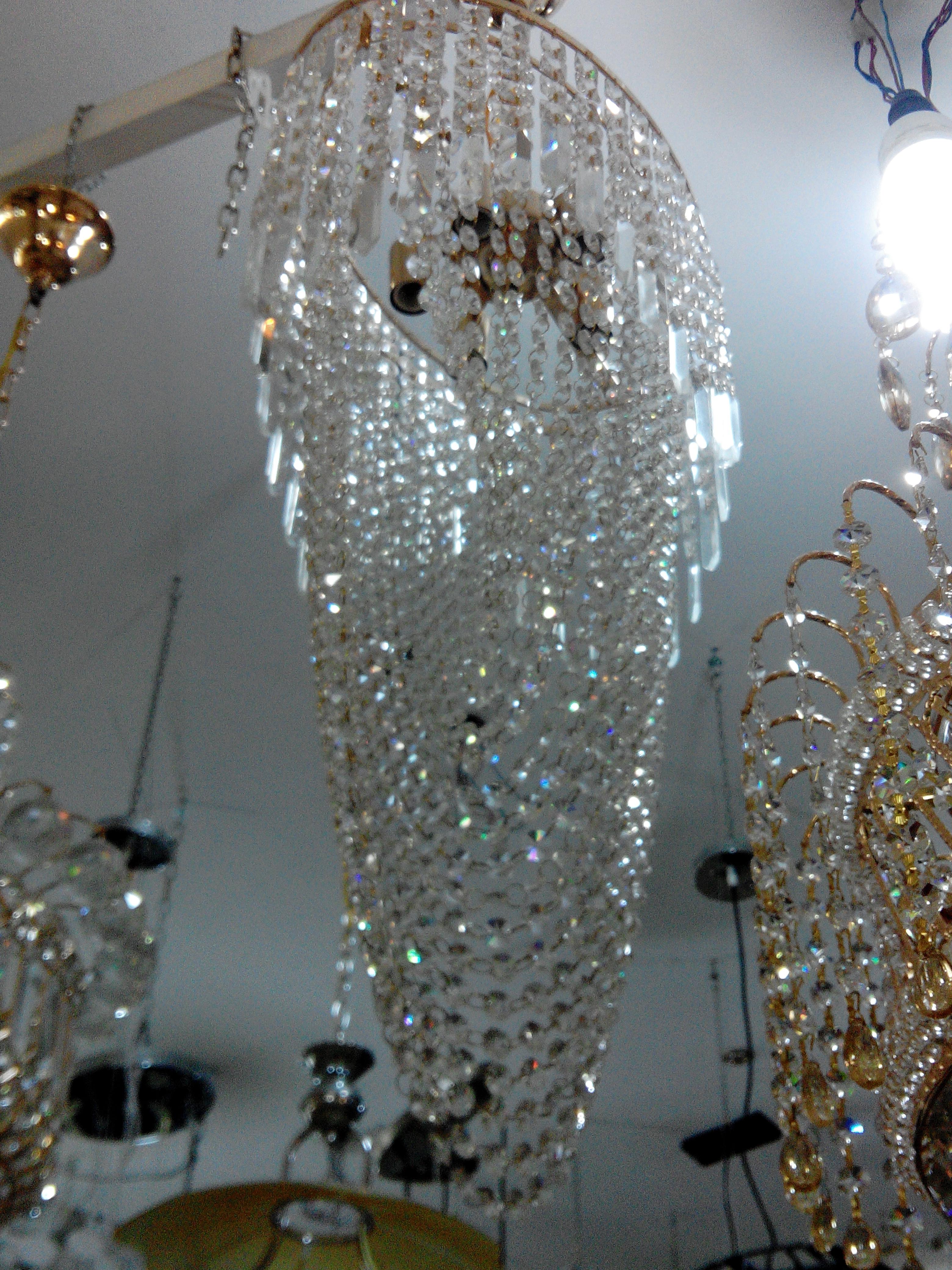 Lustre dor 5f cristal italien meubles et d coration tunisie - Produit nettoyage lustre cristal ...