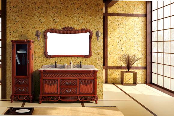 Meuble de salle de bain bois noble rev tement en rotin meubles et d coration tunisie - Meuble rotin salle de bain ...