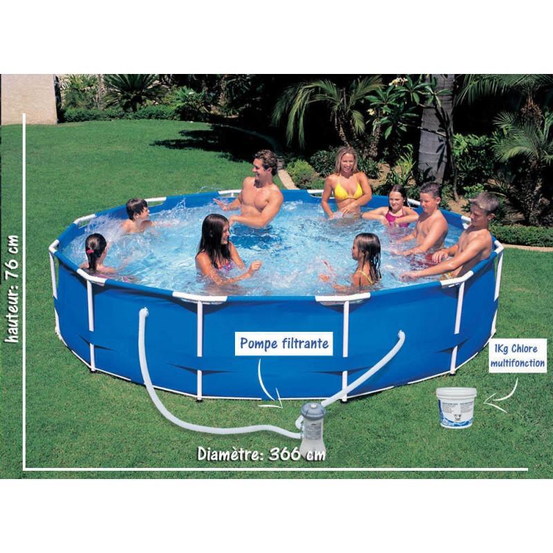pack piscine tubulaire semi rigide h 76cm x 366cm. Black Bedroom Furniture Sets. Home Design Ideas