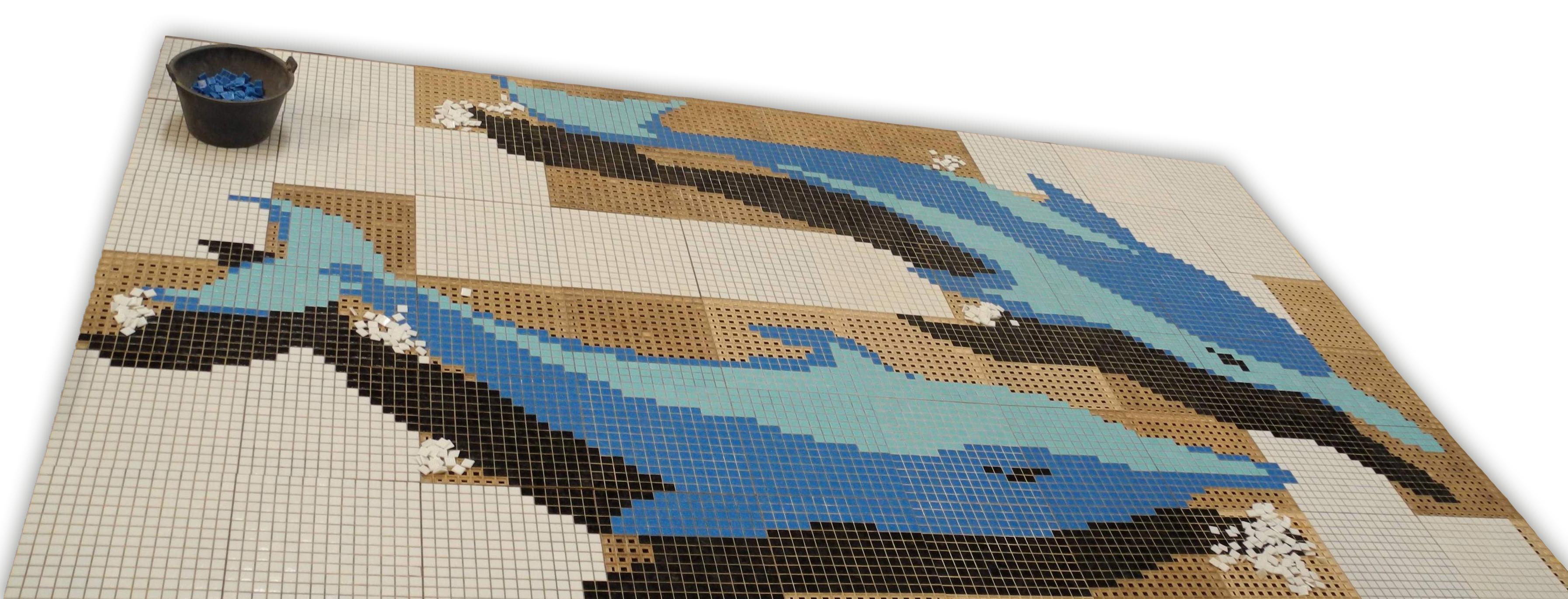 Tableau en mosa que en pate de verre pour piscine dauphin for Tableau piscine